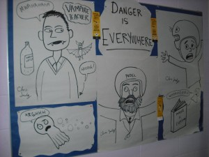 Danger is Everywhere Noticeboard outside A1 and A2- Illustrations by Chris Judge