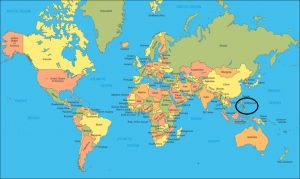 Map of the World - The Philipines is circled