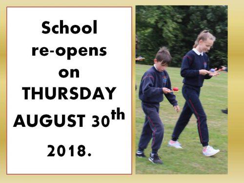 School re opens 2018 a